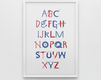 Alphabet art print for boys, construction theme, red blue, abc poster, nursery art