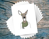 Fall Doe - set of 8 - A2 folded note cards & envelopes