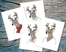 Seasonal Deer - set of 8 - A2 folded note cards & envelopes