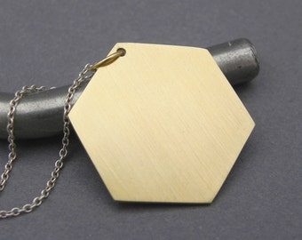 Brass Hexagon Necklace - Handmade Geometric Battlestar Galactica Inspired Dog Tag