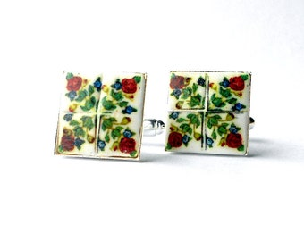 Portugal Tile Antique Replicas 17th Century ROSES (see photo)  CUFFLINKS 17mm