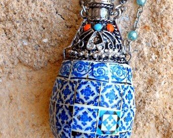 Portugal  Antique Azulejo Tile Replica Perfume Vial Bottle Flask Necklace - Bohemian - Individually placed tiles - Statement Piece OOAK