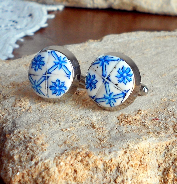 Portugal Blue Delft  AZULEJO  Antique Tile Replica Cufflinks (see photo of actual facade) Ovar Pombaline