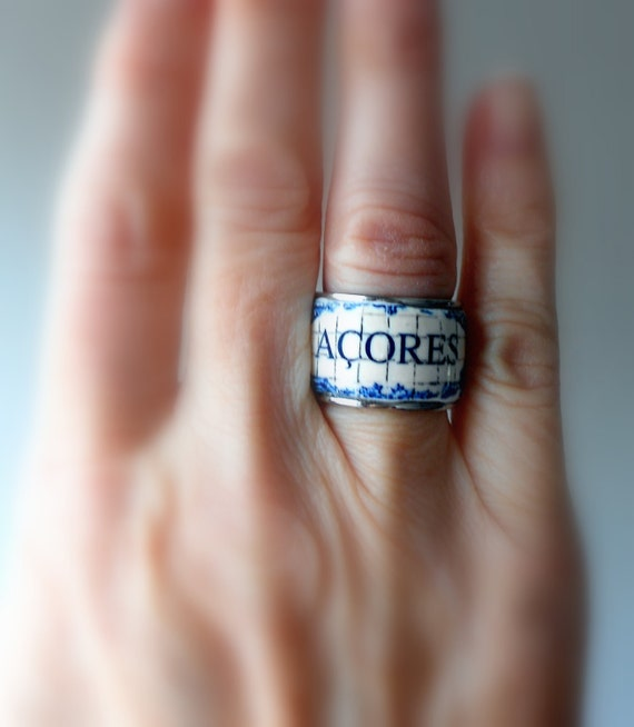 Portugal Azores Acores Antique Azulejo Tile Replica Stainless Steel RING ! Portuguese! US Size 6