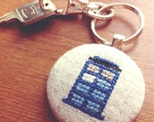 Doctor Who Tardis keychain, Whovian fan key chain cross stitch gift, Free US Shipping.