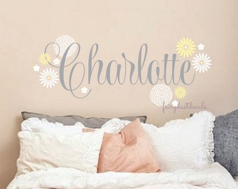 Personalized name decal, baby girl nursery, flower wall decals, custom name decal, fancy girl name, daisy wall decals, vinyl name, monogram