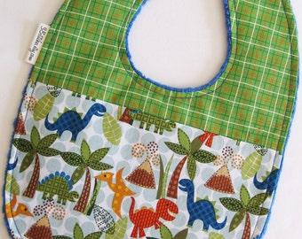 Plaid Dinosaur Baby Bib - Dinosaurs with Green Plaid on Blue Minky