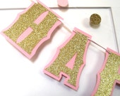 HAPPY BIRTHDAY Banner - Gold Glitter on Baby Pink - You Choose Color