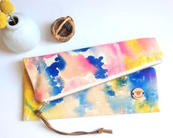 Watercolor Design Painted Clutch in Heavy Canvas Soft Pink Blue Yellow Colors Flat or Foldover - Celestial