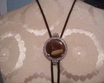 """Lovely Vintage Bolo Tie - Polished Stone with Silver Casing and 35"""" Dark Cord   (Item 354)"""