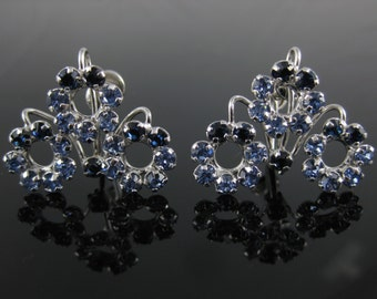 Vintage Star Art Blue Rhinestone Sterling Silver Screw Back Earrings