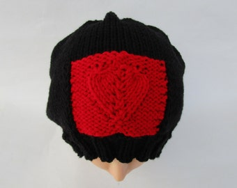 Slouchy Heart Beanie - SALE 50% OFF - Valentine's Day Hat - Black Hat With Red Heart - Women's Headwear - Knit Accessories