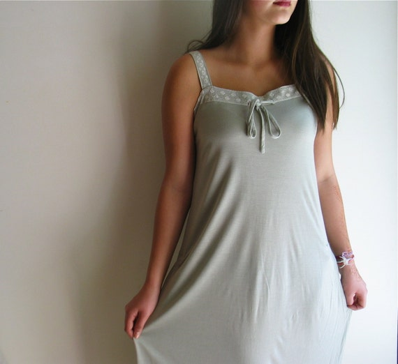 Silk Jersey Nightgown with Vintage Lace Size Medium OOAK