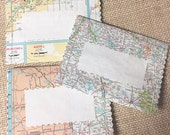 Map Mailing Envelopes, Gift Card Enclosures, Set of 10 from USA State Maps, Glued & Sewn,  Each is One Of A Kind