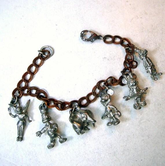 Tinkerbell Charm Bracelet: 1960s Disney Unpainted RAW Metal Charm Bracelet Mickey