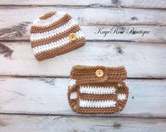 Newborn Baby Boy Crochet Hat and Diaper Cover Set Khaki and White Stripes