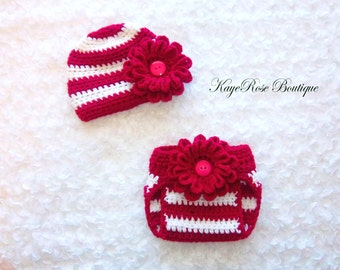 Newborn Baby Crochet Dark Pink and White Striped Flower Hat and Diaper Cover Set
