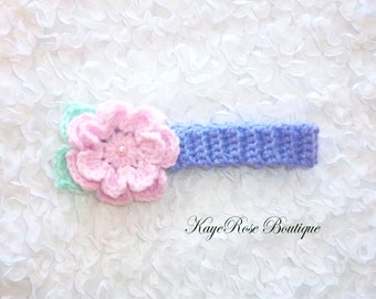 Newborn Baby Girl Crochet Pearl Flower Headband Purple Pink and Aqua