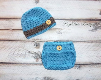 Newborn Baby Boy Crochet Hat and Diaper Cover Set Blue and Brown Stripe