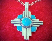 PTIZ New Mexico Zia Symbol Turquoise and Silver Southwestern Style Pendant Inlay Turquoise