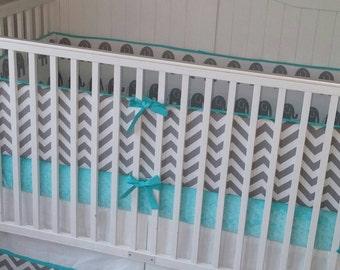 Crib Bedding Set Gray and Aqua Reversible Elephant