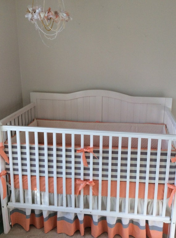 Peach Cream and Gray Crib Bedding Set by butterbeansboutique