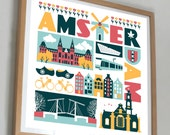 Amsterdam, The Netherlands typographic city print