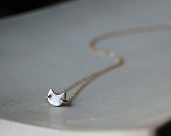 Tiny Crescent Moon- Eclipse Chaser Necklace- Two Toned in Silver on Gold Chain- Moon Shaped Minimalist