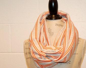 Grey Orange & White Striped Cowl Infinity Scarf - 100% Cotton Knit Jersey Fabric - Fall Winter Fashion Accessory