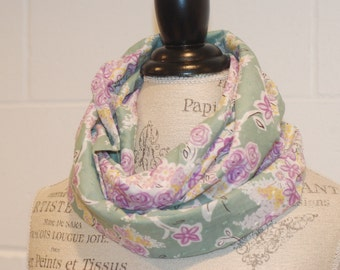 Vintage Style Floral Infinity Scarf - Purple & Green Flowers Cotton Voile Fabric - Modern Fashion Accessory - Ladies Teens Tweens
