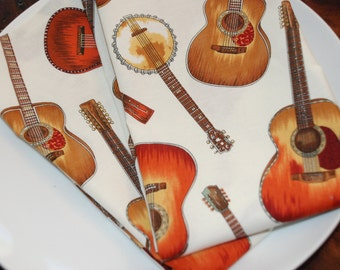 Banjo Guitar Cloth Dinner Napkins - Modern Eco Friendly - Set of 4 - Eco Chic Fall Entertaining - Gifts Under 30 for Musicians Music Lovers