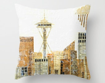 Seattle Pillow, Seattle City Art, Seattle Skyline, Space Needle, Pacific Northwest, Art Pillow, UW, Gift for Her, Urban Art, House Warming