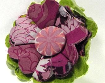 Fabric Flower Pin, Fabric Flower Brooch, raw edge flower,orchid, green - FP19