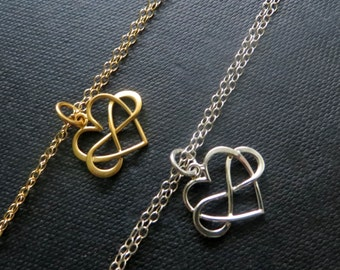 New infinity heart bracelet, choose from gold or silver, interlocked infinite love bracelet
