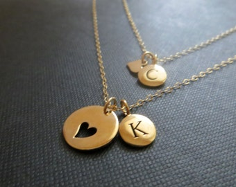Mother daughter initial necklace, personalized mother daughter jewelry, gold heart initial charm