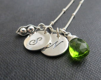 gift for mother of twins, Two initial necklace, personalized jewelry, two peas in a pod necklace, twin babies, gift for mom of two, two peas