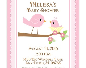 Baby Shower Invitation, Sweet Birds baby shower invite, Birds Invite, CUSTOM for YOU, 4x6 or 5x7 size - pink birds invite - YOU Print