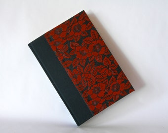 Blank book journal unlined -6x8.5in 15x22cm - black and red camillia lacquered yuzen- Ready to ship