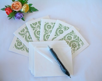 Italian paper- six blank note cards - all one pattern- sage fern stencil print -six ivory envelopes - Ready to ship