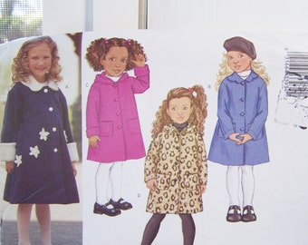 Butterick 3270 Girl's SALE Sewing Pattern, Long Sleeve Hooded Coat, Spring Unlined A Line Coat, Easy to Sew Size 2 - 5, Pattern Destash