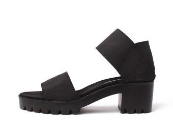JRS Dual Strap Chunk Heel Sandals