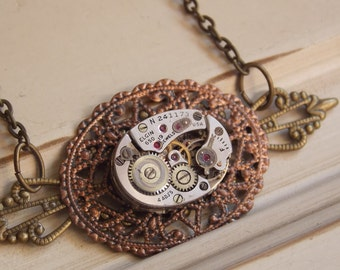 Steampunk Necklace Oval Watch Movement Brass and Copper Filigree Steampunk Jewelry