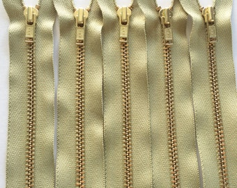 Brass Zippers- 7 inch closed bottom ykk metal teeth zips- (5) pieces - Jade 882