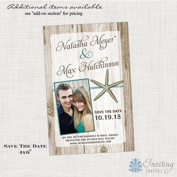 Save the Date Postcard, Starfish Save the Date,  Beach, Tropical, Destination Save the Date, Printable or Printed