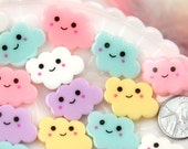 Decoden Supplies - 25mm Little Happy Pastel Clouds Acrylic or Resin Flatback Cabochons - 7 pc set