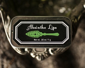 Absinthe Lips™ - natural lip balm in tin - anise, black licorice, chartreuse, sweet, herbal, absinthe flavor - For Strange Women