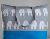 Elephants on Grey XL Extra Large Beach Bag / BIG Tote Bag - Ready to Ship
