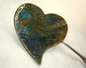 Green Heart Pottery Dish for Spoon Rest Jewelry Holder
