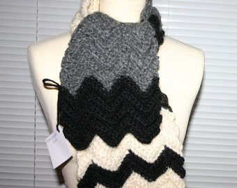 Icelandic wool one of a kind scarf in black, white and gray