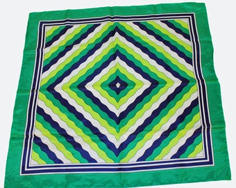"70's Polyester Scarf / Large Square Green Scarf /  Aqua Sheen /  Water Repellent / 27"" Square"